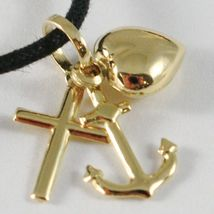 18K YELLOW GOLD FAITH HOPE CHARITY PENDANT CHARM 20 MM SMOOTH MADE IN ITALY image 2