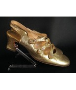VTG GOLD SHOES HEELS w RHINESTONE BUTTONS 60s MOD 8AA - $24.99