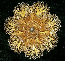 "Vintage Miriam Haskell-Style Filigree Brooch/Pin Gold-Tone 1.75""D 1950s-60s - $30.00"