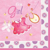 Pink Clothesline Girl 16 Ct Luncheon Napkins Baby Shower - $3.13