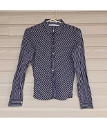 Womens Top Size M Tommy Hilfiger Button Down Stripe Tiny Ruffle Front  - $3.99