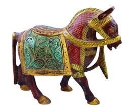 Antique Indian Maharaja Style Hand Carved Painted Wooden Horse Statue ho... - $59.99