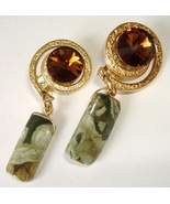 Chunky Amber Green Earrings Handcrafted Dangle Clip On Fashion Jewelry - $125.00