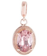 Rose Gold Pink Rhinestone Round Charm For Endle... - $9.95