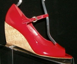 Franco Sarto 'Fashioni' red patent leather peep toe mary jane cork wedge... - $35.17