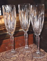3 HEAVY Ribbed Crystal CLEAR Champagne Flutes TOASTING GLASSES WEDDING V... - $59.99