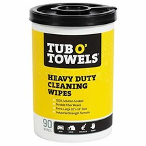 """Tub O Towels TW90  Heavy-Duty 10"""" x 12"""" Size Multi-Surface Cleaning Wipes, 90 Co"""