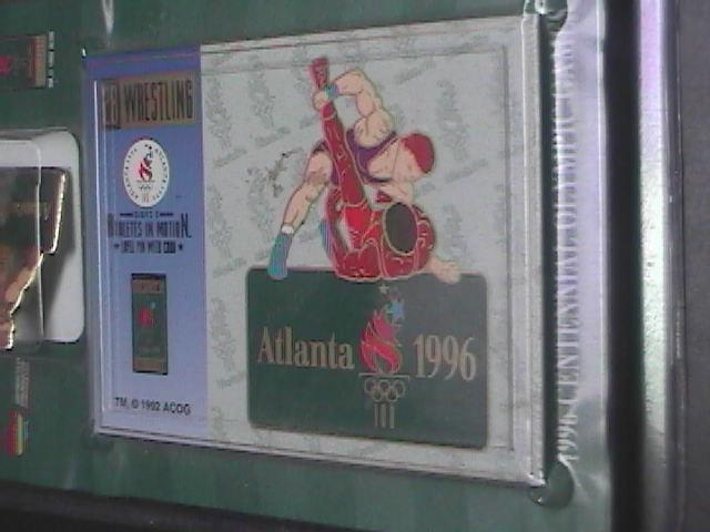 Olympics 1996 Atlanta Wrestling Izzy Two Pins and Cards Still Factory Sealed