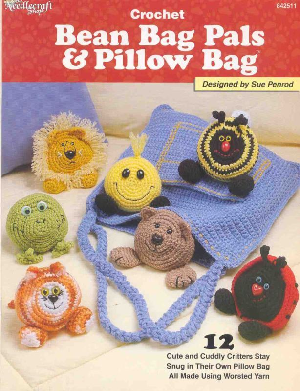 Crochet Beach Bag Pattern : Bean Bag Pals & Pillow Bag: crochet pattern by Sue Penrod ...
