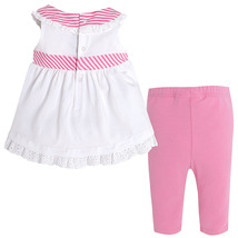 Mayoral Baby Girl 3M-24M Pink/White/Green Stripes-n-Floral Top/Legging Set image 2