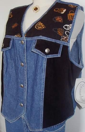 Denim & Black Horse Show Hobby Halter Vest Plus Size XL  Bonanza