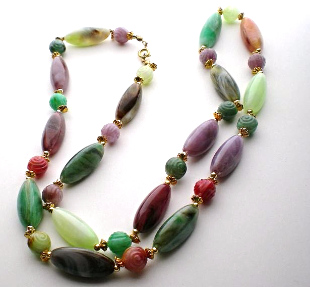 Necklace faux polished stone bead oval round 1980s multi-colors