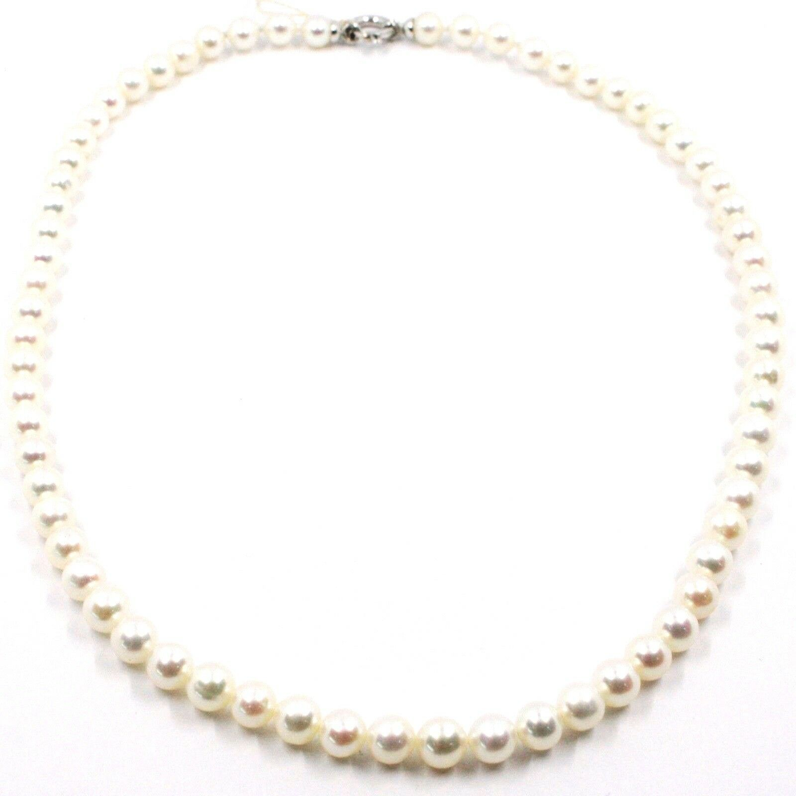 Necklace, Closing White Gold 18K, White Pearls 6-6.5 mm, 42 49 55 CM