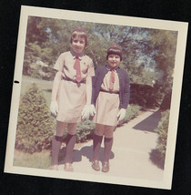 Vintage Photograph Two Adorable Brownie Girlscouts Standing in Yard - $6.93