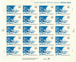 Downhill Skier Italy Winter Olympic Games 2006 Us Stamp Sheet 20 X 39 Cent Mnh - $19.69