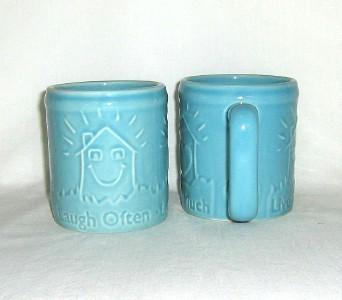 "Enesco ""Live Well Laugh Often Love Much"" 2 Mugs Coffee Cups 2003 Turquoise Aqua"