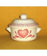 Stoneware Individual Casserole with Lid White Pink Heart design - $4.99