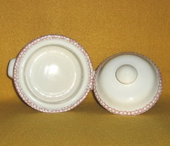 Stoneware Individual Casserole with Lid White Pink Heart design