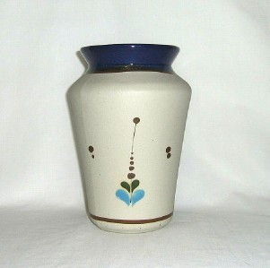 Tall Vase Handpainted Blue Swan Mexico Signed L.O