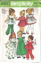 Simplicity Pattern 5993 Girls Dress Smock Bell Bottom Pants Size 4 Uncut - $6.99