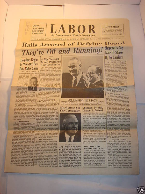 LABOR NEWSPAPER 1964 68 Johnson Humphrey Mafia lot of 2