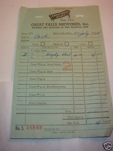 Great Falls Select Brewery Fine Beer1954 keg reciept