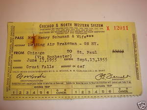 Chicago & North Western System railroad Trip Pass 1955