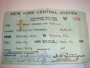 New York Central System railroad Trip Pass 1955