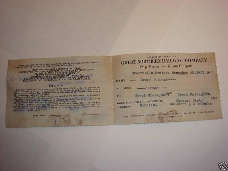 Great Northern Railway Company TRIP PASS 1926 1925