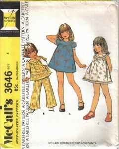 McCall's Pattern 3646 Girls' Dress Top Pants Size 4 A Carefree Pattern Uncut