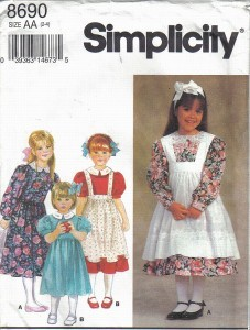 Primary image for Simplicity Pattern 8690 Girls' Dresses & Pinafores in Sizes 2 - 4 Uncut