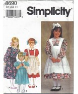Simplicity Pattern 8690 Girls' Dresses & Pinafores in Sizes 2 - 4 Uncut - $6.99
