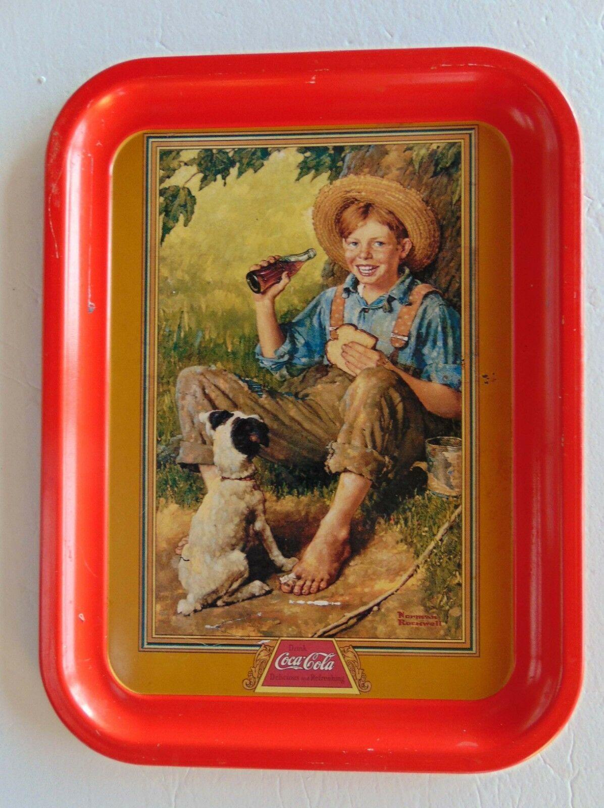 1991 Coca-Cola Barefoot Boy Tray - Norman Rockwell Scene