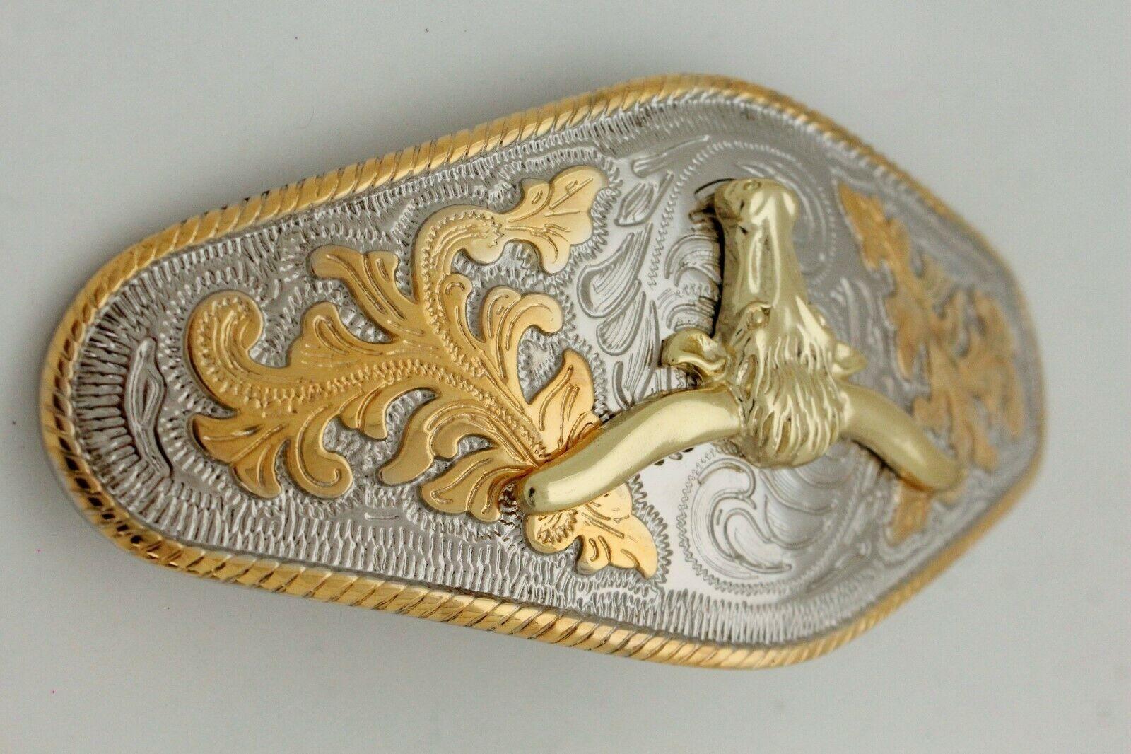 Hombre Western Cowboys Cinturón Hebilla Metal Plata Rodeo Largo Oro Texas Cuerno image 3