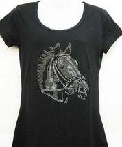 XLarge NEW WESTERN BLACK HORSE RHINESTONE T TEE SHIRT TUNIC TOP SHIRT PU... - $25.99