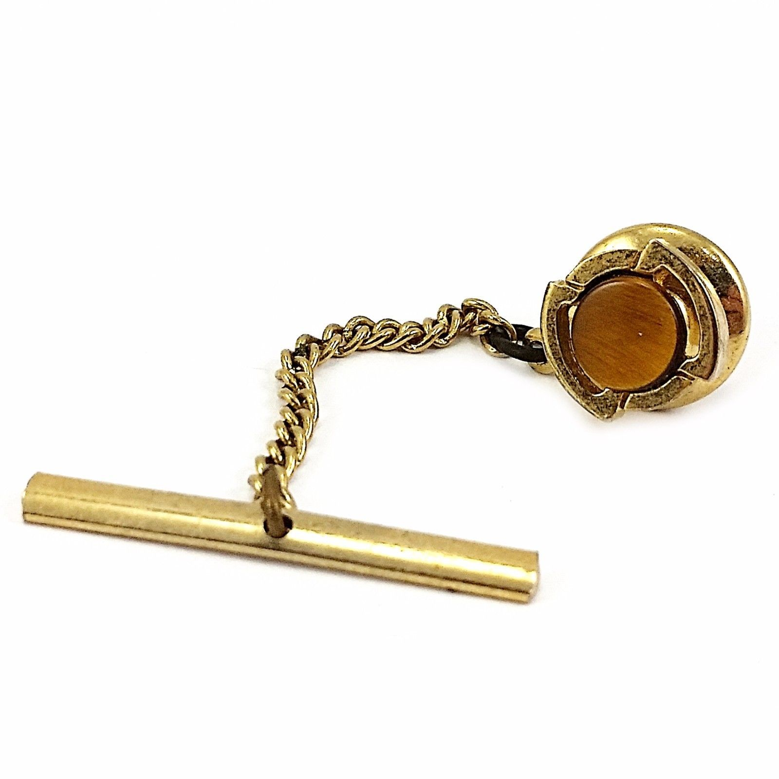 Tigers Eye Tie Tack Vintage Round Gold Tone Business c152