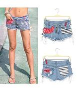 New Women's USA Flag Splicing Denim Shorts Bandage American Flag Short Pants - $32.99