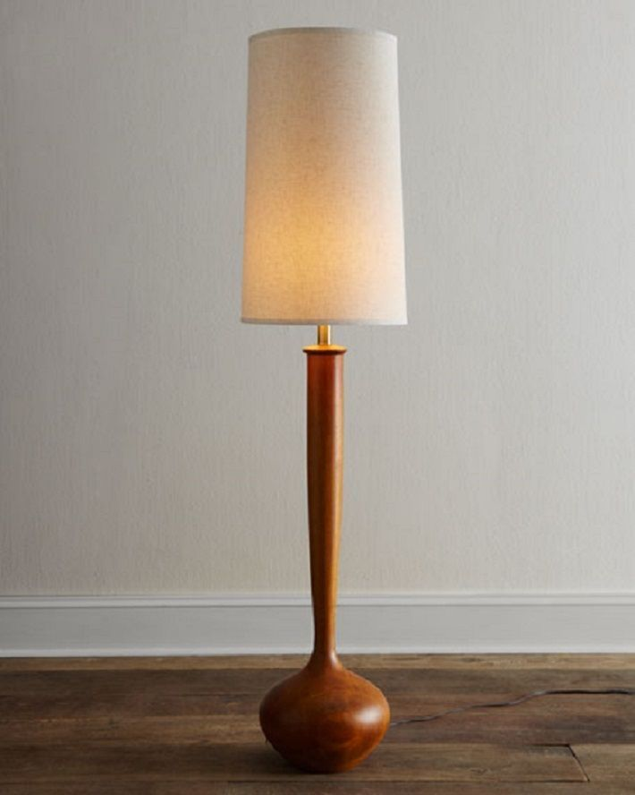 "NEW Mid Century Modern Wooden Tulip Bulb Floor Lamp Horchow Contemporary 64""H"