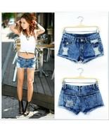 Womens Ladies new Summer hot pants worn retro blue short denim shorts Ring - $32.99