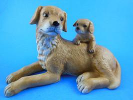 Homco Home Interiors #1471 Porcelain Dog & Puppy Golden Retriever Mother w Baby - $10.88