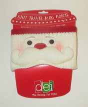 Knit Travel Mug Wrap Santa Claus Adjustable Closure New Coffee Cover Chr... - $9.89