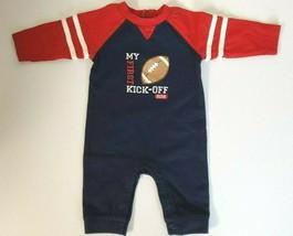 Gymboree Baby Boy Size 0-3 Months ~ My First Kick Off ~ 2016~ Romper Navy & Red - $11.87
