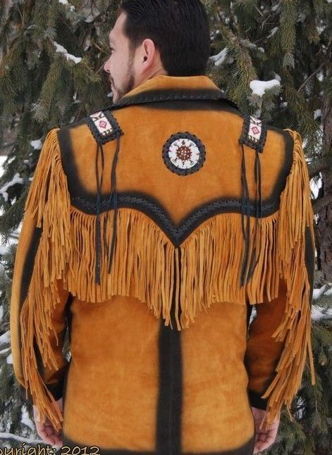 New Men's Tan Western / Native American Suede Leather Beads Fringes Jacket FJ85