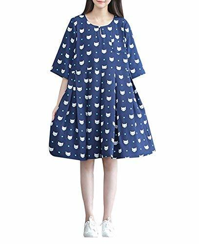 Stylish/Large Size/Quality Fabrics Maternity Dress(Navy)