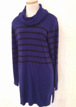 Nwt Michael Kors Size L Large Blue Striped Cowl Neck Tunic Style Sweater Dress - $27.77
