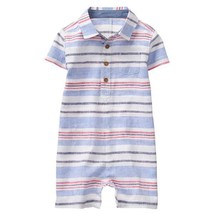 NWT Gymboree Americana Baby Boys Striped Blue Linen Polo Romper Sunsuit ... - $12.99