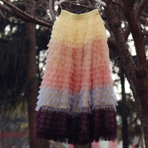 Women Maxi Tiered Tulle Skirt Outfit Plus Size Pink Blue Romantic Party Outfit image 9