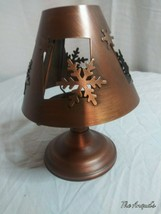 Trimmerry Treasures snowflake tea light holder stand brass colored - $10.87