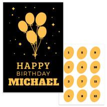 Black Gold Pin The Balloon Custom Name Birthday Party Game - $21.29