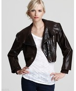 Alice+Olivia Massie Reptile-Embossed Leather Bomber Jacket Brown Size M $898.00 - $299.99